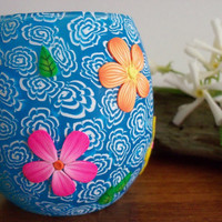 Votive Candle Holder, polymer clay decorated glass candle container