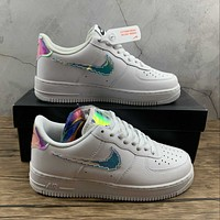Morechoice Tuhy Nike Air Force 1 Low Iridescent Pixel White Sneakers Casual Skaet Shoes CV1699-100