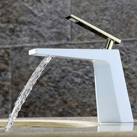 Chrome Finished 5 Color Bathroom  Faucet Single Handle Waterfall  Deck Mounted