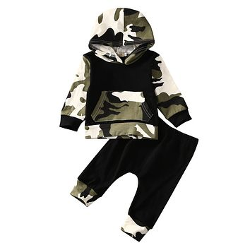 2pcs!! Sale Infant Clothes Baby Clothing Sets Baby Boys Camouflage Camo Hoodie Tops Long Pants 2Pcs Outfits Set Clothes