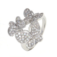 Dear Deer White Gold Plated Butterfly Cubic Zirconia Cocktail Ring