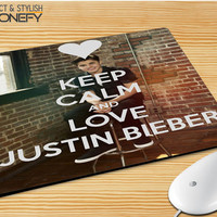 Keep Calm And Love Justin Bieber Mousepad Mouse Pad|iPhonefy