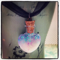 Pastel Goth Glow In The Dark Glass Heart Charm with Black Cord Choker Necklace