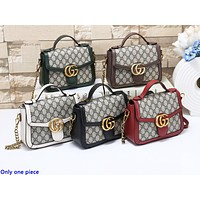 GUCCI hot seller of fashionable ladies' printed patchwork single-shoulder shopping bag