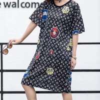 """Louis Vutitton"" Women Casual Personality Logo Pattern Print Short Sleeve T-shirt Middle Long Section Dress"