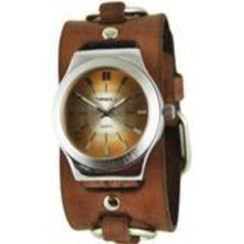 Brown Sunray Watch with Faded Brown Ring Leather Cuff Band