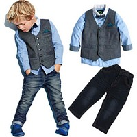 Baby Boy Gentleman Outfits Butterfly Bow tie vest T-shirt + pants Children Costume Children clothing set