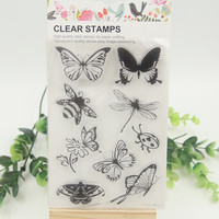 1 sheet DIY Butterfly and Bee Transparent Clear Rubber Stamp Seal Paper Craft Scrapbooking Decoration