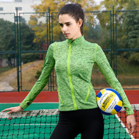 Ladies Stylish Zippers Long Sleeve Quick Dry Tops Yoga Gym T-shirts [4915731588]