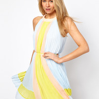 Ted Baker | Ted Baker Pleated Dress in Icecream Color Block at ASOS