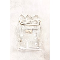 Clear W/ White Trim Backpack