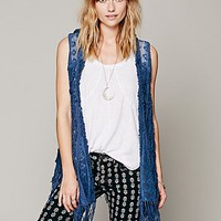 Free People Womens Crazy Love Vest - Cadet Blue,