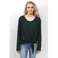 Side Tie Long Sleeve Top {Forest} - Size LARGE