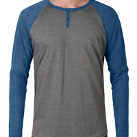 LE3NO Mens Long Sleeve Color Block Raglan Henley Shirt