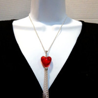 Heart Tassel Necklace-Silver Valentine's Day Necklace