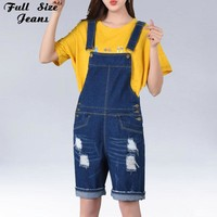 Ripped Short Overalls