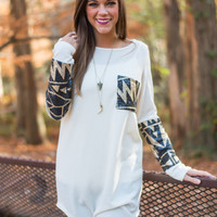 Tribal Sequin Tunic, Ivory
