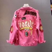 Trendy Red / Yellow Jeans Jacket New Spring Autumn Women's Graffiti Alphabet Printing Lace Bow Pin Hole Denim Jacket Student Basic Coat AT_94_13