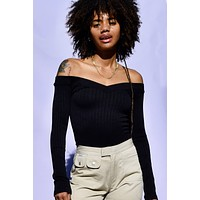 Lurker Off The Shoulder Ribbed Seamless Top