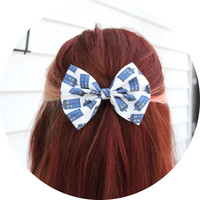 Doctor Who Tardis Bow -White with Tardis Pattern Hair Bow with Clip LIMITED EDITION