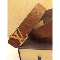 Men's LV Louis Vuitton Brass Belt 85/34Brown Logo Gold