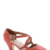 ModCloth Fancied Footwork Heel in Coral