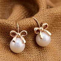 Golden Bow and Pearl Earrings   LilyFair Jewelry