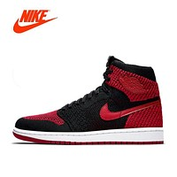 Original New Arrival Official Nike Air Jordan 1 Flyknit AJ1 Men's Breathable Basketball Shoes Sports Sneakers