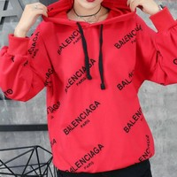 Balenciaga Long Sleeve Hedging Pullover Sweater Hoodies Red