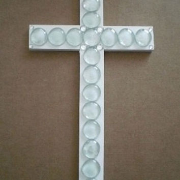 "GLASS GEM & BLING Wall Cross- White Cross with Clear Glass Gems and Clear Rhinestones - 14"" x 8"""