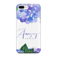 Amazing Grace Phone Case - Floral Phone Case - Watercolor Hydrangeas - Scripture Phone Case - Graduation - iPhone 8 - Galaxy S9