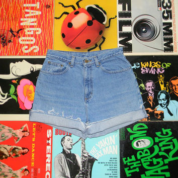 High Waisted Denim Shorts - 90s Stone Washed Jean Shorts - High Waist, Cut Off, Frayed, Rolled Up LL BEAN Shorts Size 10 M