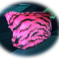Hot Pink and black tiger stripe animal print faux fur furry fluffy fuzzy car headrest covers 1 pair