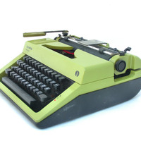 Typewriter green / olive manual  - Olympia Monica 70s