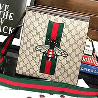 GUCCI New Fashion Stripe Embroidery Letter More Letter Print Leather Shoulder Bag Handbag Khaki