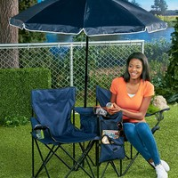 Double Chair w/Umbrella & Cooler Portable Collapsible Camping Beach Tailgating