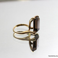 Organic Form Gold Cocktail Ring, Circa 1970s