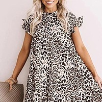 2020 new women's fashion leopard print plus size dress