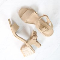 Sbicca - Whirlaway Beige Suede Leather Ankle Strap Jute Heels