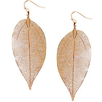 Humble Chic Women's Gold-Tone Dipped Leaf Earrings Gold-Tone Lightweight Cutout Dangles, Gold-Tone