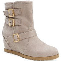 Faux Suede Wedge Bootie