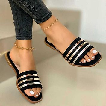 Fashion Slippers For Women Slip On Pu Ladies Flat Shoes Casual Woman Striped Sandals Female Comfort