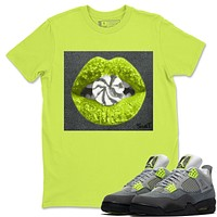 Lips Candy Safety Green T-Shirt - Air Jordan 4 '95 Neon