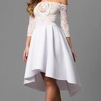 High-Low Off-the-Shoulder Party Dress with Sleeves