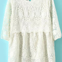 Beige Round Neck Embroidered Lace Blouse