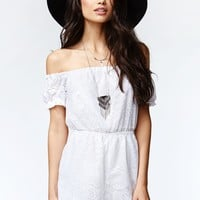 Kendall & Kylie Short Sleeve Off Shoulder Romper - Womens Dress - White
