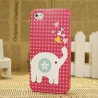 Lovely Pet Elephant Carton Hard Shell Case for iPhone 4/4s