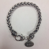 """University of Georgia Power """"G"""" Bulldogs Charm Bracelet, G charm on a rope bracelet with oversized heart lobster claw"""