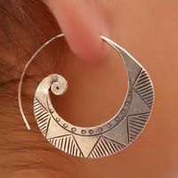 Beautiful Silver Spiral Earrings - Tribal Jewelry - Silver Jewelry - Native Jewery - Ethnic Jewelry - Spiral Jewelry - Shape Jewelry