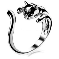 Silver Color Cat Ring with Black Eyes